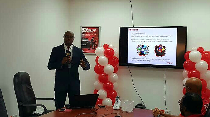 General Manager for Digicel, BVI Kevin Gordon today at the launch of the company's new LTE Network.