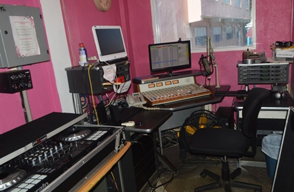 The studio from which Neil Blyden usually broadcast at his radio station, ZVCR FM