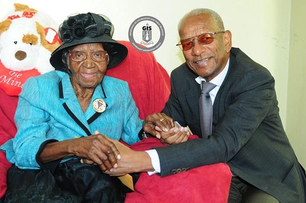 Premier Dr D Orlando Smith and centenarian Christalia Idalia Hodge