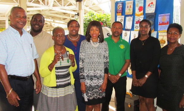 Pictured from left: Assistant Governor Elvis 'Juggy' Harrigan; Rotaractor, Evon Pope; Lorna Dawson; Rotarian, Aisha Liburd; Past President of Rotary Lorna Smith; President of the Rotary Club Sunrise of Road Town Marvin Flax; President of Rotary Club of Road Town Nelcia St Jean; and Vice-President of Rotary Club of Tortola Nona Vanterpool. Photo provided by the Autism Centre