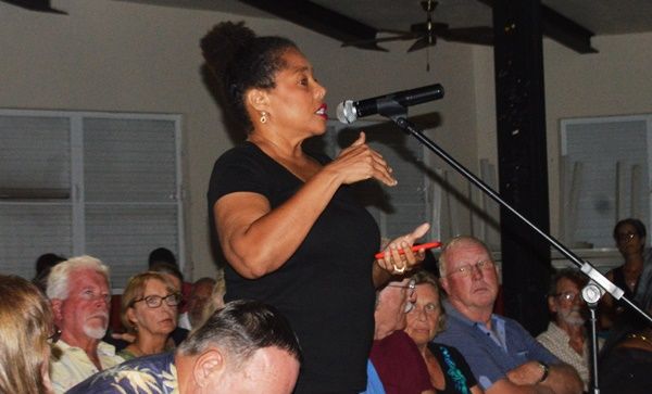 Shereen Flax-Charles at the community meeting