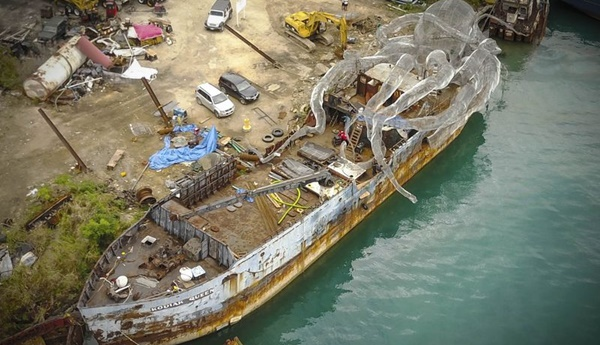The BVI Art Reef under construction. Photographer: Owen Buggy