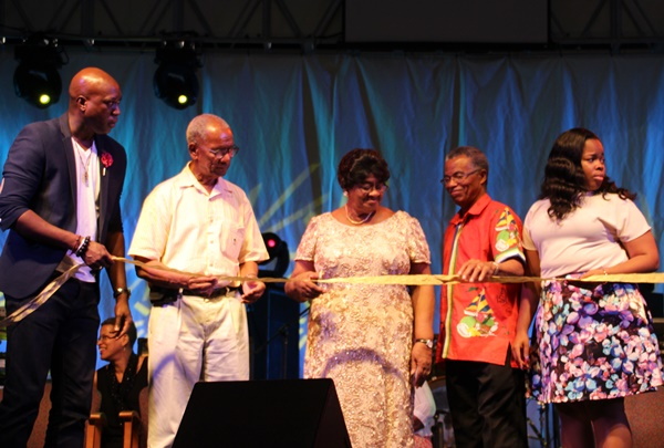 Left to right - Minister responsible for culture Myron Walwyn, Premier Dr D Orlando Smith, founding member of the Virgin Gorda Easter Festival Committee Bernice Sprauve, political representative for Virgin Gorda Dr Hubert O'Neal, and head of the Virgin Gorda Easter Festival Committee Sasha Flax