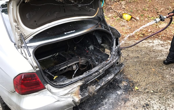 Fire guts car