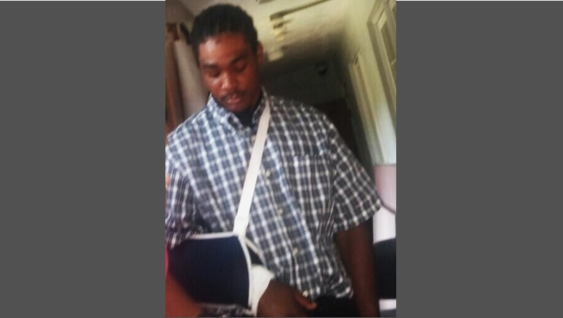 Left with an injured arm – Man punches glass door