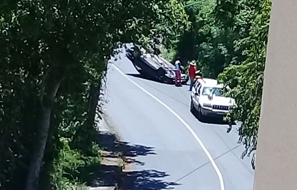 Photo: Car flips at Zion Hill