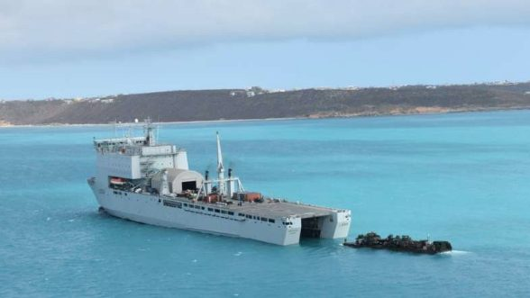 UK navy vessel docks in Miami in preparation for hurricane season
