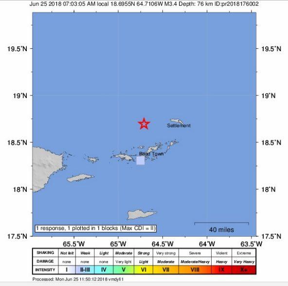 Another earthquake felt in BVI
