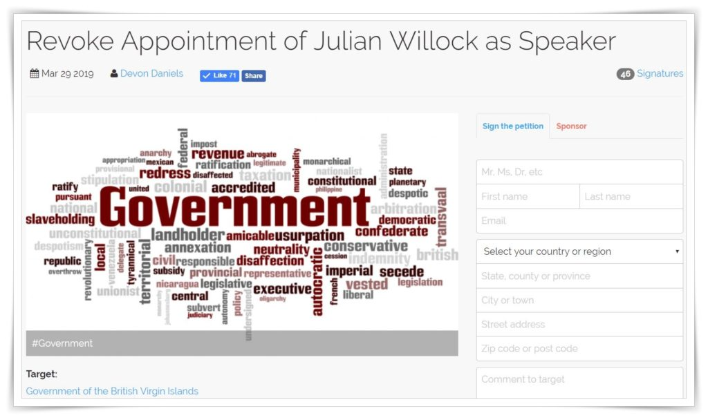 Online petition launched | Calls for Willock to be revoked as HOA Speaker