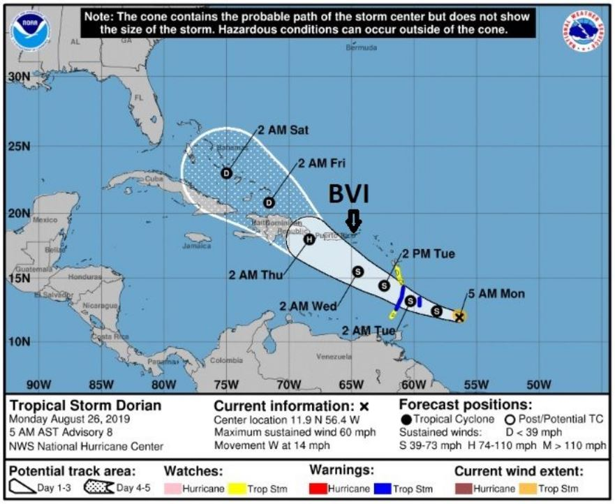 UPDATE: Dorian still strengthening, not projected to be a direct hit to BVI