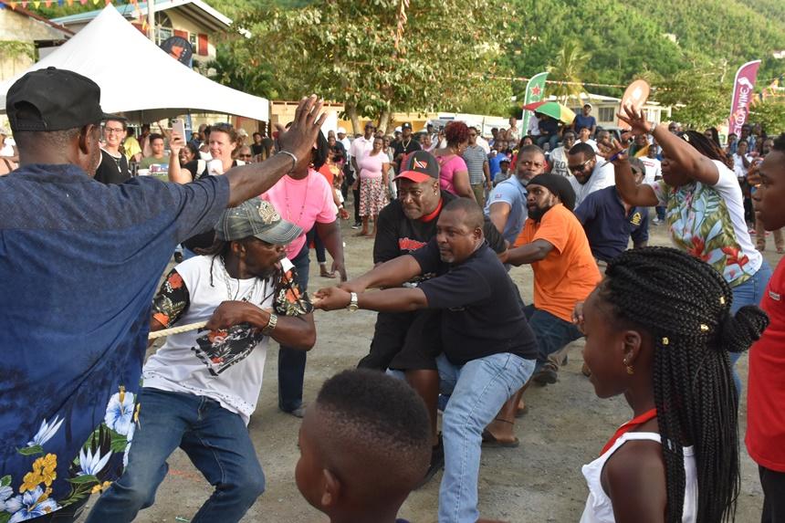 Married vs single men tug-of-war a crowd favourite at Carrot Bay Fiesta