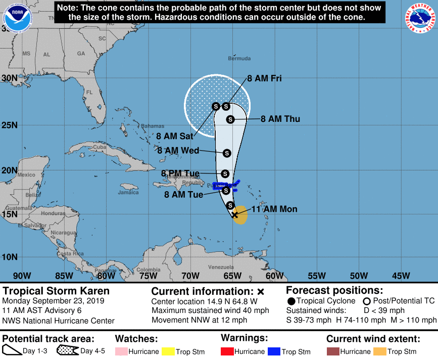 Tropical Storm Warning issued for the BVI, Karen expected to hit Tuesday