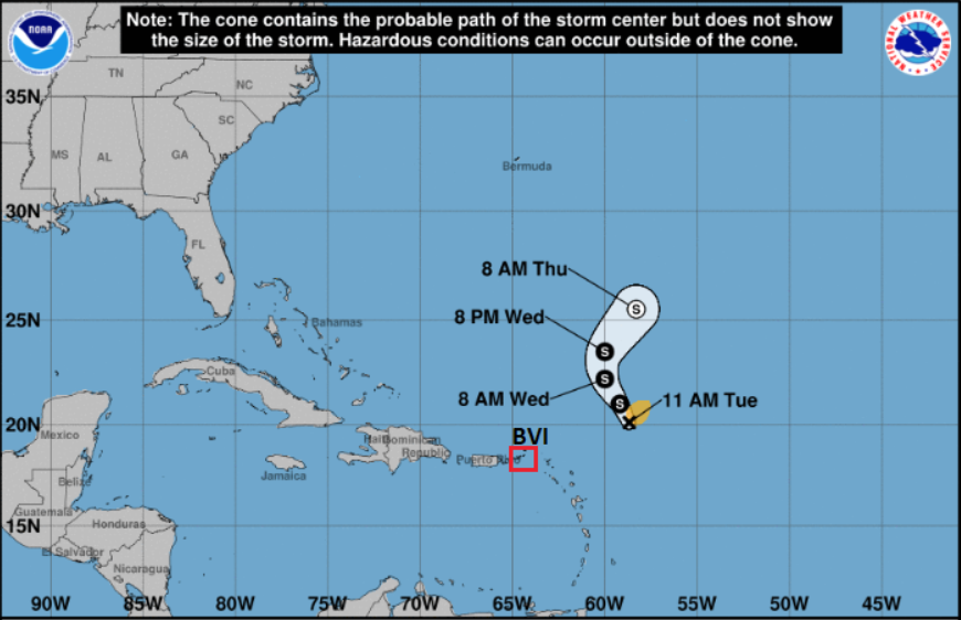 New tropical storm forms in Atlantic, weather system not expected to impact BVI