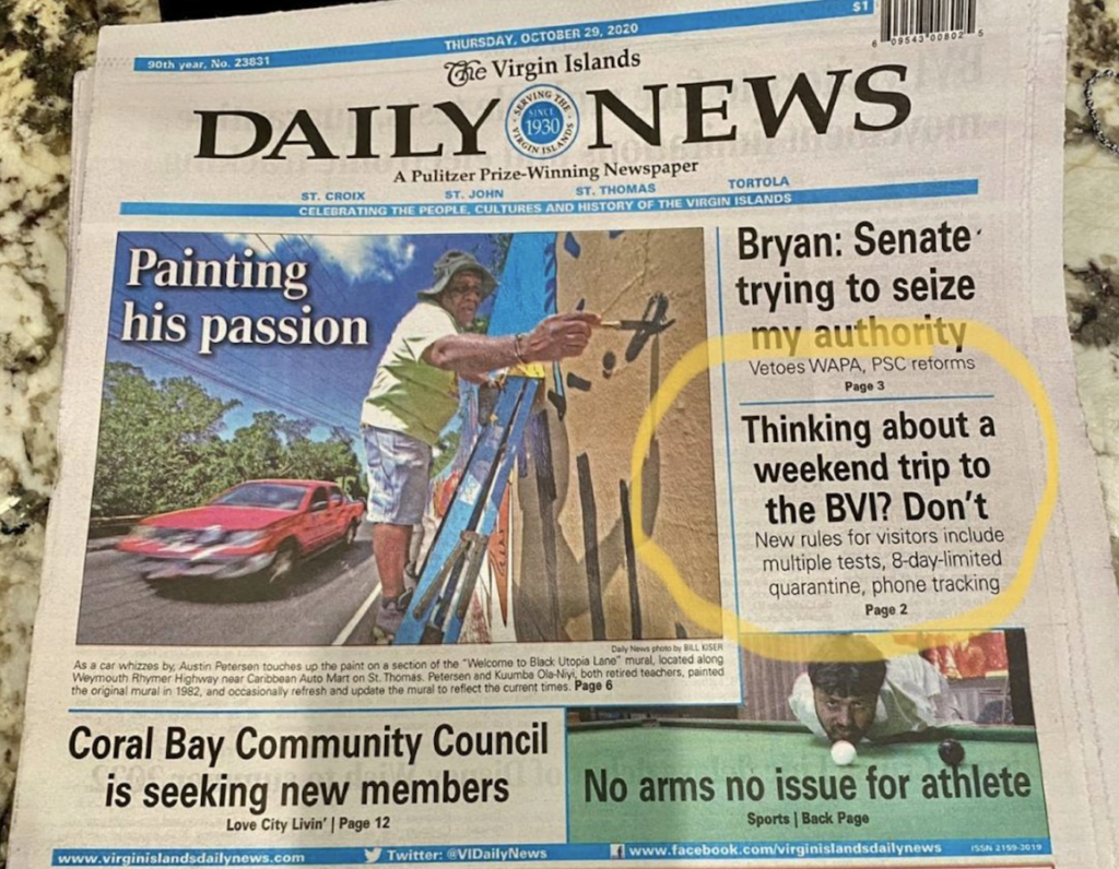 USVI newspaper tells visitors not to visit BVI